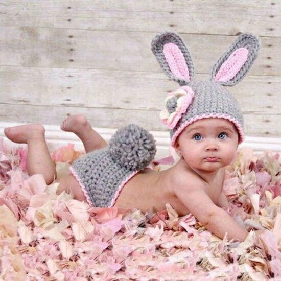 Nyuszi jelmez újszülött fotózáshoz